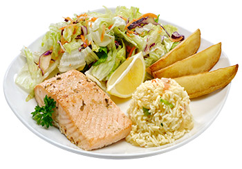 Bring your own wine to taste a salmon fillet